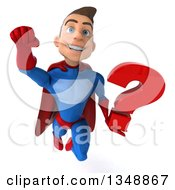 Clipart Of A 3d Young Brunette White Male Super Hero In A Blue And Red Suit Holding A Question Mark And Flying Royalty Free Illustration