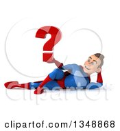 Clipart Of A 3d Young Brunette White Male Super Hero In A Blue And Red Suit Holding A Question Mark And Resting On His Side Royalty Free Illustration