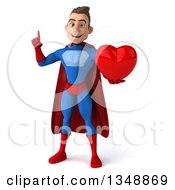 Clipart Of A 3d Young Brunette White Male Super Hero In A Blue And Red Suit Holding Up A Finger And A Love Heart Royalty Free Illustration