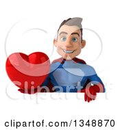 Clipart Of A 3d Young Brunette White Male Super Hero In A Blue And Red Suit Holding A Love Heart Over A Sign Royalty Free Illustration