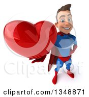 Clipart Of A 3d Young Brunette White Male Super Hero In A Blue And Red Suit Holding Up A Love Heart Royalty Free Illustration