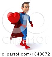 Clipart Of A 3d Young Brunette White Male Super Hero In A Blue And Red Suit Holding A Love Heart And Walking To The Right Royalty Free Illustration