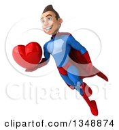 Clipart Of A 3d Young Brunette White Male Super Hero In A Blue And Red Suit Holding A Love Heart And Flying Royalty Free Illustration