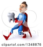 Clipart Of A 3d Young Brunette White Male Super Hero In A Blue And Red Suit Holding A Tooth And Sprinting To The Left Royalty Free Illustration