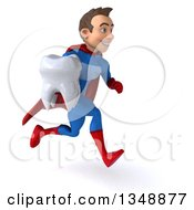 Clipart Of A 3d Young Brunette White Male Super Hero In A Blue And Red Suit Holding A Tooth And Sprinting To The Right Royalty Free Illustration