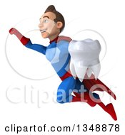 Clipart Of A 3d Young Brunette White Male Super Hero In A Blue And Red Suit Holding A Tooth And Flying Royalty Free Illustration
