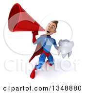 Clipart Of A 3d Young Brunette White Male Super Hero In A Blue And Red Suit Holding A Tooth And Using A Megaphone Royalty Free Illustration