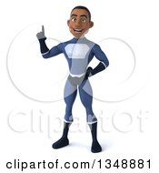 Clipart Of A 3d Young Black Male Super Hero Dark Blue Suit Holding Up A Finger Royalty Free Illustration