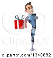 Clipart Of A 3d Full Length Young Brunette White Male Super Hero In A Dark Blue Suit Holding A Gift And Looking Around A Sign Royalty Free Illustration