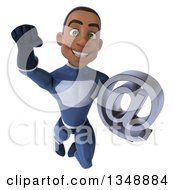 Clipart Of A 3d Young Black Male Super Hero Dark Blue Suit Flying And Holding An Email Arobase At Symbol Royalty Free Illustration