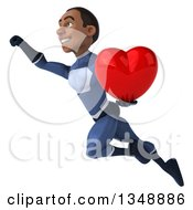 Clipart Of A 3d Young Black Male Super Hero Dark Blue Suit Flying And Holding A Love Heart Royalty Free Illustration