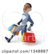 Clipart Of A 3d Young Black Male Super Hero Dark Blue Suit Speed Walking To The Left With Shopping Bags Royalty Free Illustration