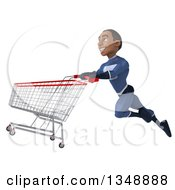 Clipart Of A 3d Young Black Male Super Hero Dark Blue Suit Flying To The Left With A Shopping Cart Royalty Free Illustration