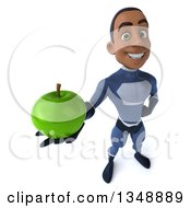 Clipart Of A 3d Young Black Male Super Hero Dark Blue Suit Holding Up A Green Apple Royalty Free Illustration