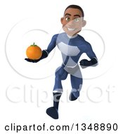 Clipart Of A 3d Young Black Male Super Hero Dark Blue Suit Holding A Navel Orange And Sprinting Royalty Free Illustration