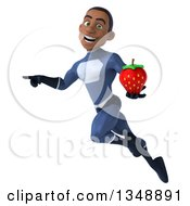 Clipart Of A 3d Young Black Male Super Hero Dark Blue Suit Holding A Strawberry Flying And Pointing Royalty Free Illustration