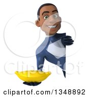 Clipart Of A 3d Young Black Male Super Hero Dark Blue Suit Holding A Banana Around A Sign Royalty Free Illustration