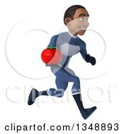 Clipart Of A 3d Young Black Male Super Hero Dark Blue Suit Holding A Tomato And Sprinting To The Right Royalty Free Illustration by Julos