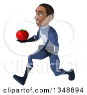 Clipart Of A 3d Young Black Male Super Hero Dark Blue Suit Holding A Tomato And Sprinting To The Left Royalty Free Illustration by Julos