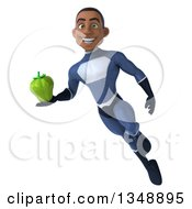 Clipart Of A 3d Young Black Male Super Hero Dark Blue Suit Holding A Green Bell Pepper And Flying Royalty Free Illustration by Julos