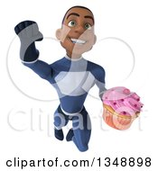 Clipart Of A 3d Young Black Male Super Hero Dark Blue Suit Holding A Cupcake And Flying Royalty Free Illustration by Julos