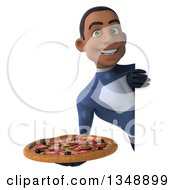 Clipart Of A 3d Young Black Male Super Hero Dark Blue Suit Holding A Pizza Around A Sign Royalty Free Illustration by Julos