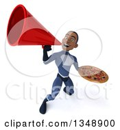 Clipart Of A 3d Young Black Male Super Hero Dark Blue Suit Holding A Pizza And Using A Megaphone Royalty Free Illustration by Julos