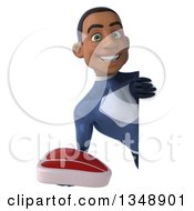 Clipart Of A 3d Young Black Male Super Hero Dark Blue Suit Holding A Beef Steak Around A Sign Royalty Free Illustration