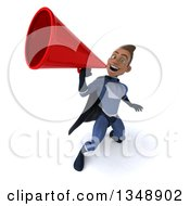 Clipart Of A 3d Young Black Male Super Hero Dark Blue Suit Using A Megaphone Royalty Free Illustration