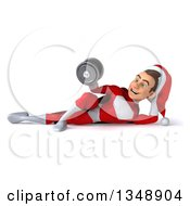 Clipart Of A 3d Young White Male Super Hero Santa Working Out Resting On His Side Doing Bicep Curls With A Dumbbell Royalty Free Illustration
