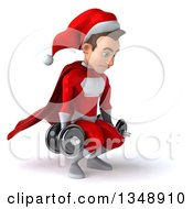 Clipart Of A 3d Young White Male Super Hero Santa Working Out Facing Right Doing Squats With Dumbbells Royalty Free Illustration