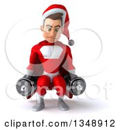 Clipart Of A 3d Young White Male Super Hero Santa Working Out Doing Squats With Dumbbells Royalty Free Illustration