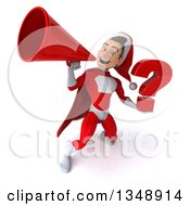 Clipart Of A 3d Young White Male Super Hero Santa Holding A Question Mark And Using A Megaphone Royalty Free Illustration
