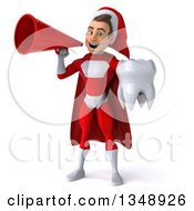 Clipart Of A 3d Young White Male Super Hero Santa Holding A Tooth And Using A Megaphone Royalty Free Illustration