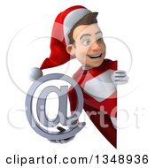 Clipart Of A 3d Young White Male Super Hero Santa Holding An Email Arobase At Symbol Around A Sign Royalty Free Illustration