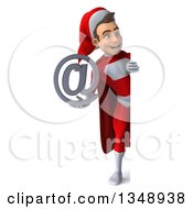 Clipart Of A 3d Full Length Young White Male Super Hero Santa Holding An Email Arobase At Symbol Around A Sign Royalty Free Illustration