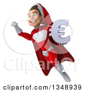 3d Young White Male Super Hero Santa Holding A Euro Currency Symbol And Flying