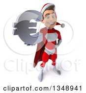 Clipart Of A 3d Young White Male Super Hero Santa Holding Up A Euro Currency Symbol Royalty Free Illustration