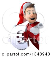 Clipart Of A 3d Young White Male Super Hero Santa Holding A Euro Currency Symbol Around A Sign Royalty Free Illustration