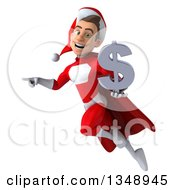 Clipart Of A 3d Young White Male Super Hero Santa Holding A Dollar Currency Symbol Flying And Pointing Royalty Free Illustration