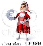 3d Young White Male Super Hero Santa Holding A Euro Currency Symbol