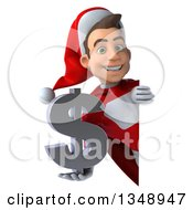 3d Young White Male Super Hero Santa Holding A Dollar Currency Symbol Around A Sign
