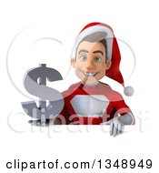 Clipart Of A 3d Young White Male Super Hero Santa Holding A Dollar Currency Symbol Over A Sign Royalty Free Illustration