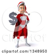 Clipart Of A 3d Young White Male Super Hero Santa Holding A Dollar Currency Symbol Royalty Free Illustration