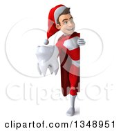Clipart Of A 3d Full Length Young White Male Super Hero Santa Holding A Tooth Around A Sign Royalty Free Illustration