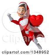 3d Young White Male Super Hero Santa Holding A Red Love Heart And Flying