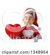 3d Young White Male Super Hero Santa Holding A Red Love Heart Over A Sign