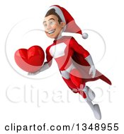 Clipart Of A 3d Young White Male Super Hero Santa Holding A Red Love Heart And Flying Royalty Free Illustration