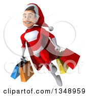 3d Young White Male Super Hero Santa Holding Shopping Bags And Flying