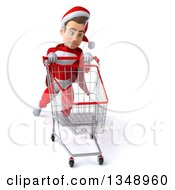 3d Young White Male Super Hero Santa Struggling With A Shopping Cart